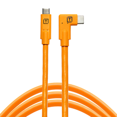 TetherPro USB-C /USB-C 4.6m/15' Right Angle orange