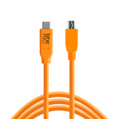 TetherPro USB-C / 2.0 Mini-B 5-Pin 4.6m/15' orange
