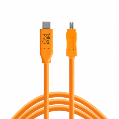 TetherPro USB-C / 2.0 Mini-B 8-Pin 4.6m/15' orange
