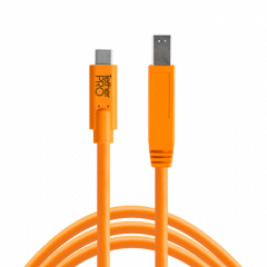TetherPro USB-C / 3.0 Male B 4.6m/15' orange