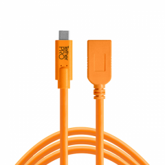 TetherPro USB-C / USB-A Female Adapter 4.6m orange